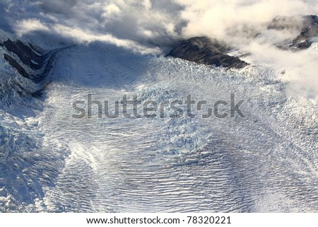aerial view of franz josef glacier from helicopter in New Zealand