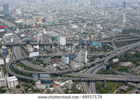 Aerial view of freeway interchange. Taken from Bayoke Sky Tower, Bangkok, Thailand