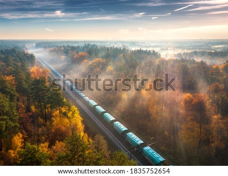 Aerial view of freight train and beautiful forest in fog at sunrise in autumn. Colorful landscape with railroad, moving train, foggy trees, sunbeams and blue sky in fall. Top view. Railway station Foto stock ©