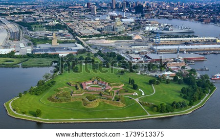 aerial view of ft mchenry with downtown baltimore and inner harbor in background, june 2015.