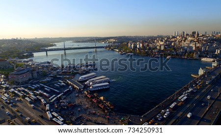Aerial view of Galata Bridge and Golden Horn in Istanbul, Turkey #734250931