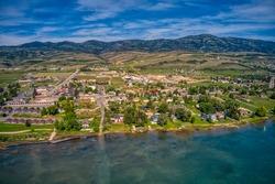 Aerial View of Garden City, Utah on the shore of Bear Lake
