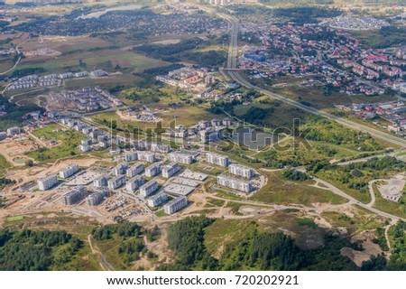 Aerial view of Gdansk suburbs with Armii Krajowej road, Poland Zdjęcia stock ©