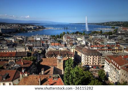 Aerial view of Geneva (Geneve/Genf), Switzerland