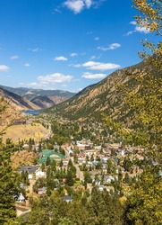 Aerial view of Georgetown, Colorado, from the Rocky Mountains on an early autumn day