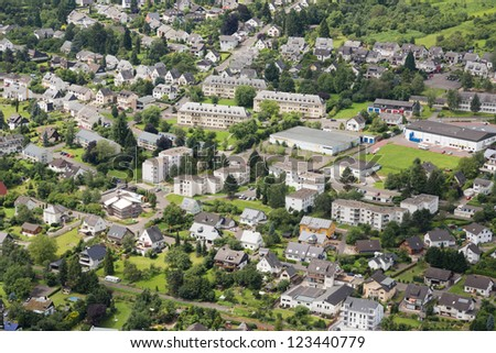 Aerial view of German city Traben Trarbach