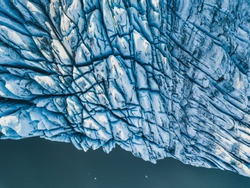 aerial view of glacier from above, ice texture landscape, beautiful nature blue background from Iceland