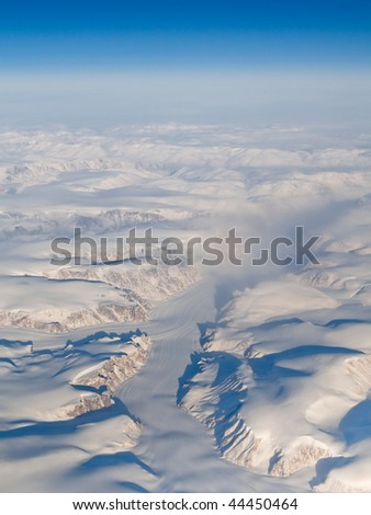 Aerial View of Glaciers, Mountains and Fjords of Auyuittuq National Park, Baffin Island, Canada (66.81 N, 65.43 W)