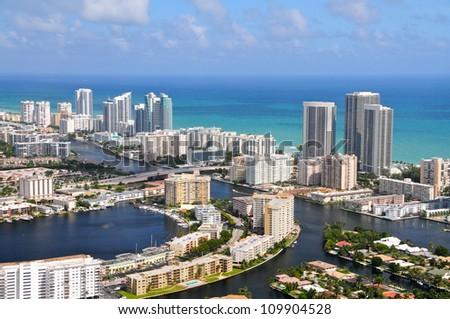 Aerial view of Golden Isles Lake, Golden Isles, Miami, Florida, USA