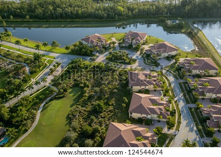 aerial view of golf community in palm beach county florida
