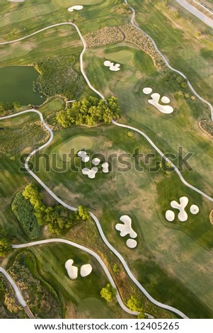 aerial view of golf course