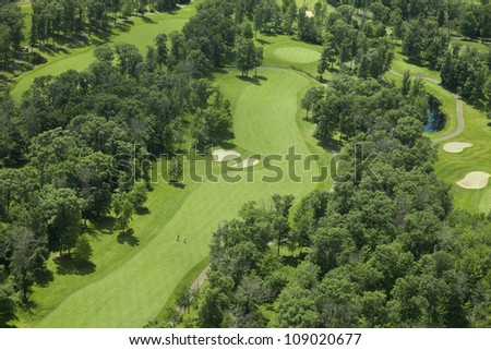 Aerial view of golf fairway and green