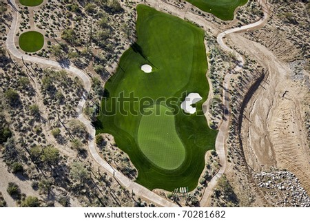 Aerial view of golf green