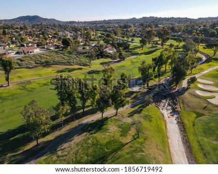 Aerial view of golf in upscale residential neighborhood during autumn season, Rancho Bernardo, San Diego County, California. USA.  Сток-фото ©