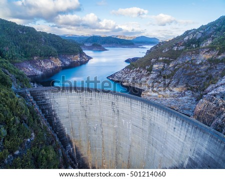 Stock Photo Aerial view of Gordon Dam and lake. Southwest, Tasmania, Australia