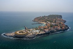 Aerial view of Goree Island. Gorée. Dakar, Senegal. Africa. Photo made by drone from above. UNESCO World Heritage Site.