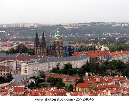 Aerial view of Gradchany with Prague castle and St.Vitus cathedral