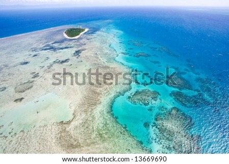 Aerial view of Great Barrier Reef from helicopter, Queensland, Australia
