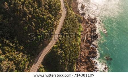 Aerial View of Great Ocean Road, Australia #714081109