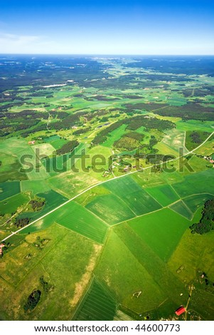 Aerial view of green rural landscape