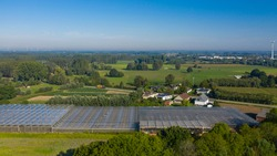 Aerial view of greenhouses, in Moerzeke, East Flanders, Belgium