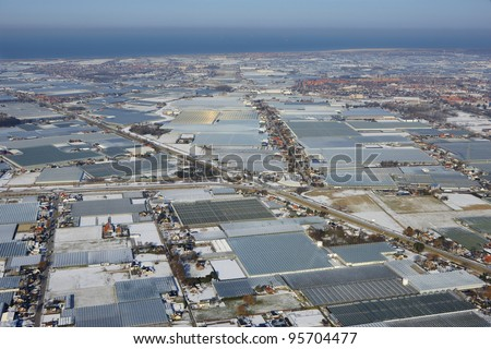 Aerial view of greenhouses in Westland, Zuid-Holland, Netherlands in winter