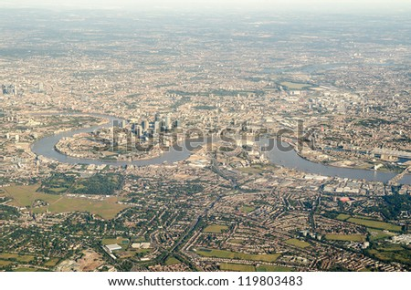 Aerial view of Greenwich, the Thames and surrounding area
