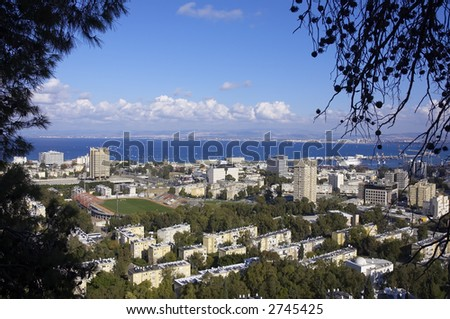 aerial view of Haifa city, Israel, Mediterranean sea, Middle East