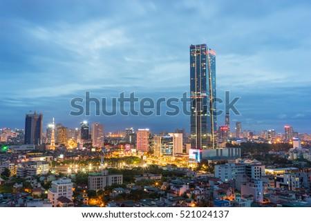 Aerial view of Hanoi cityscape at Lieu Giai street - Dao Tan street - Kim Ma street, Ba Dinh district. Hanoi skyline at twilight Stok fotoğraf ©