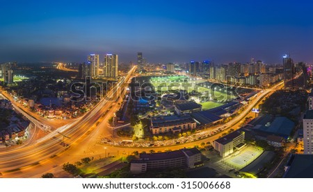 Aerial view of Hanoi skyline cityscape at night. Le Van Luong - Khuat Duy Tien intersection , Cau Giay district #315006668