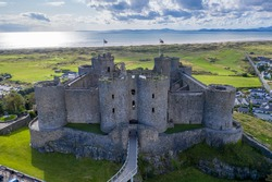 Aerial view of Harlech Castle in Gwynedd, Wales on a summers day.