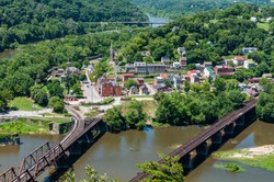 Aerial view of Harpers Ferry, West Virginia seen from Maryland Heights Overlook