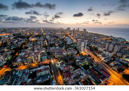 Aerial view of Havana (Habana) with a coast ocean in the evening time