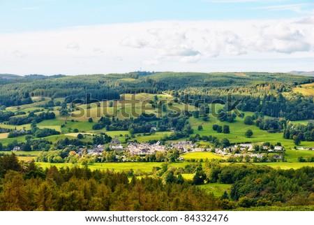 Aerial view of Hawkshead village