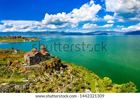 Aerial view of Hayravank monastery on the shores of lake Sevan in Armenia #1442321309