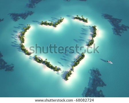 aerial view of heart shaped island with yacht as concept for romantic vacation