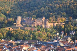 Aerial view of  Heidelberg old town and Castle  during sunset in autumn in Heidelberg, Germany
