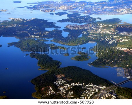 Aerial view of Helinki archipelago, Finland, Europe