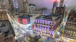 Aerial view of Herald Square at night, New York.