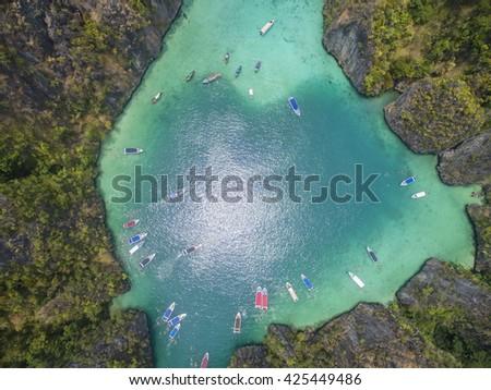 Aerial view of hidden lagoon in tropical island, with heart shape. Phi Leh Lagoon, Phi Phi Leh Island, Phi Phi Islands, Phuket, Thailand