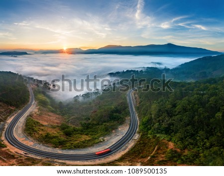 Aerial view of Highway 27c or Provincial Route 723 from Da Lat city to Nha Trang city at Long Lanh pass, Lam Dong province, Vietnam