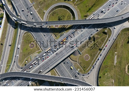 Aerial view of highway interchange of a city #231456007