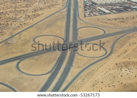 Aerial view of highway interchange on ground
