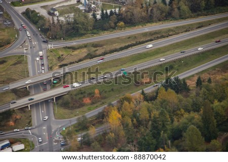 Aerial view of highway traffic from long exposure