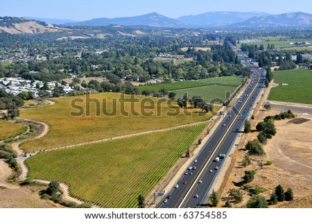 aerial view of highway us 101 in sonoma country california looking south