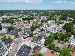 Aerial view of Historic buildings on Cabot Street in historic city center of Beverly, Massachusetts MA, USA.