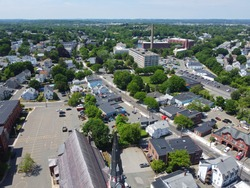 Aerial view of historic commercial buildings on Main Street in downtown Peabody, Massachusetts MA, USA.