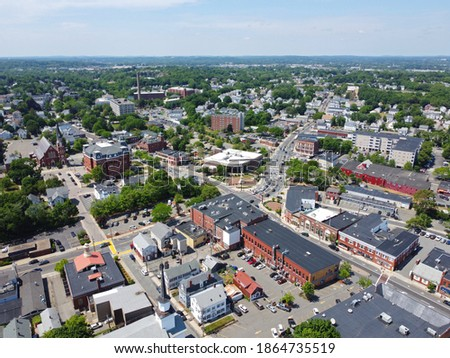 Aerial view of historic commercial buildings on Main Street in downtown Peabody, Massachusetts MA, USA.  Stock fotó ©