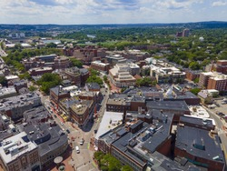Aerial view of historic Harvard Square of Cambridge at Brattle Street and John F. Kennedy Street, Cambridge, Massachusetts MA, USA.