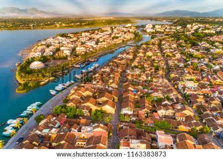 Aerial view of Hoi An ancient town, UNESCO world heritage, at Quang Nam province. Vietnam. Hoi An is one of the most popular destinations in Vietnam